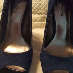 Candie's royal blue peep toe pumps